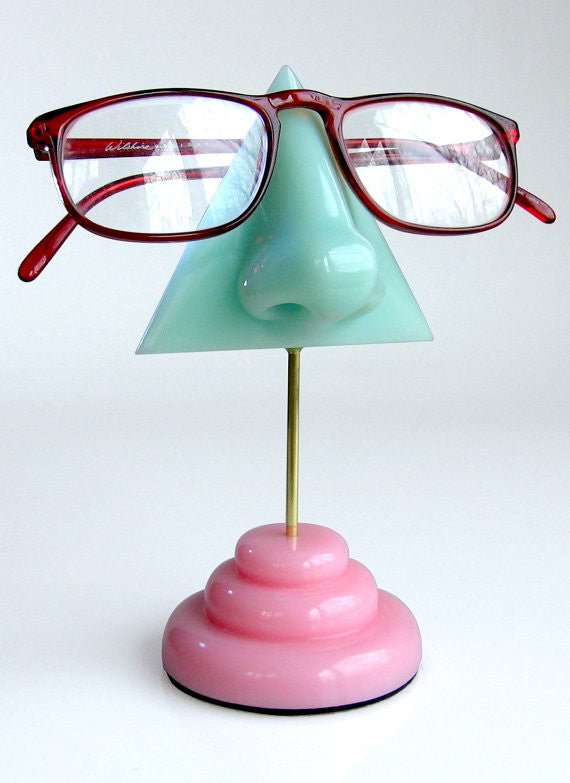 Mint Nose Eyeglass Stand with Pink Base