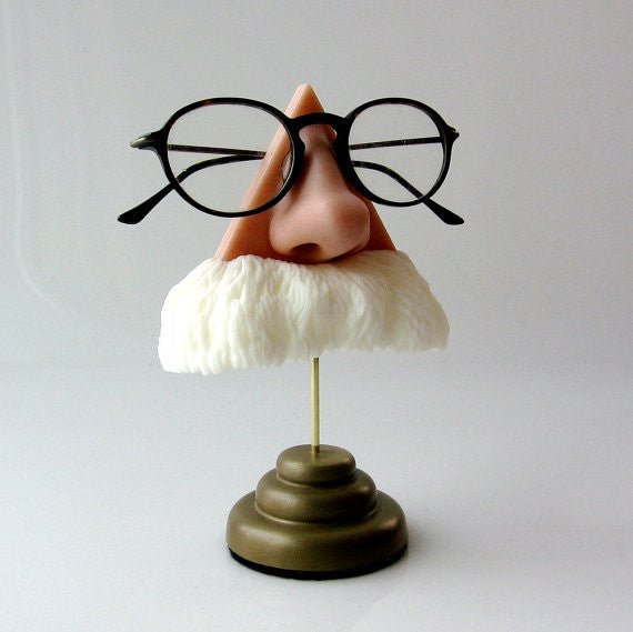Big White Mustache Eyeglass Stand for Your Favorite Einstein Lookalike