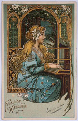 golden haired Art Nouveau painted lady