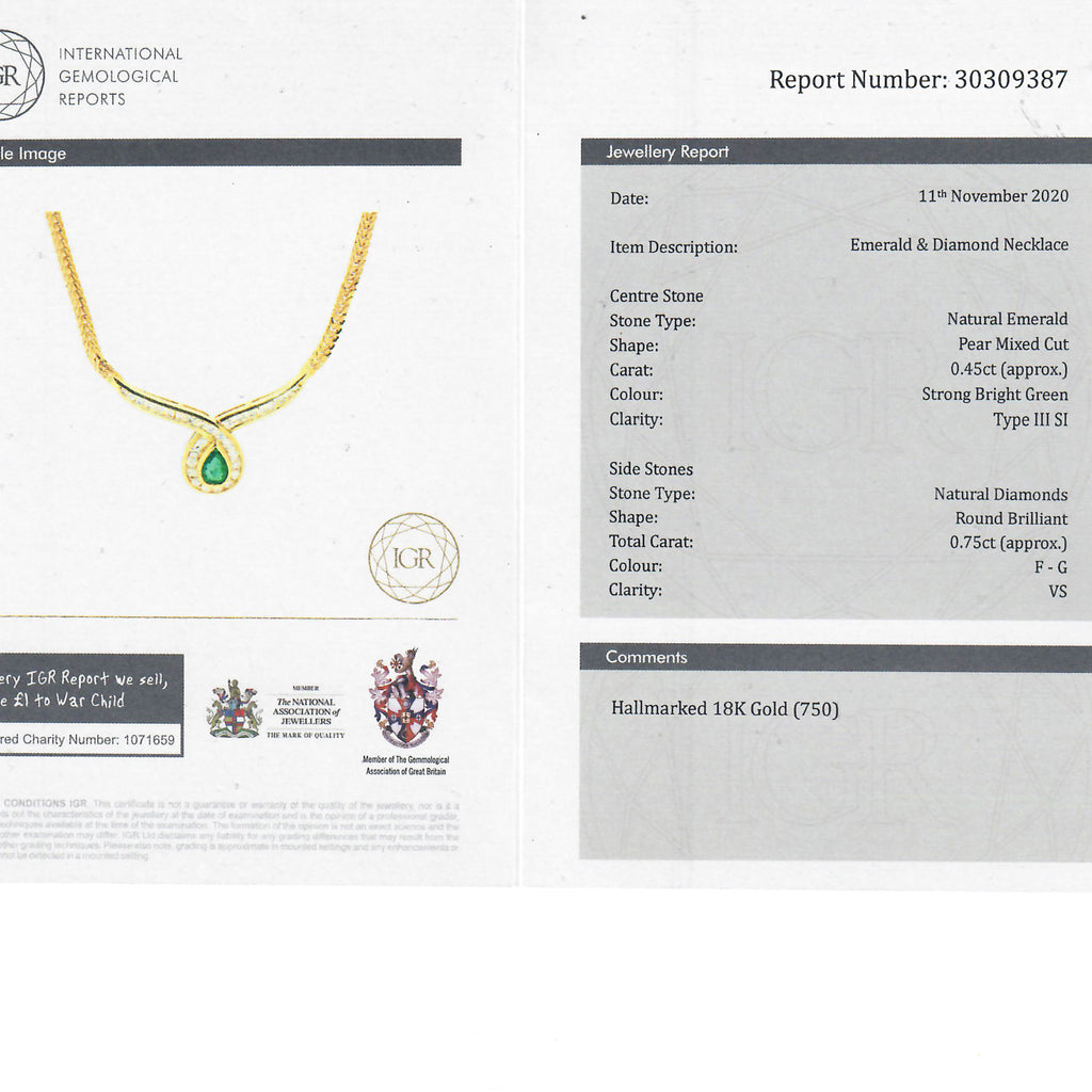 gemmological report for vintage necklace