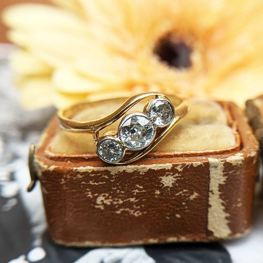 three diamond antique ring