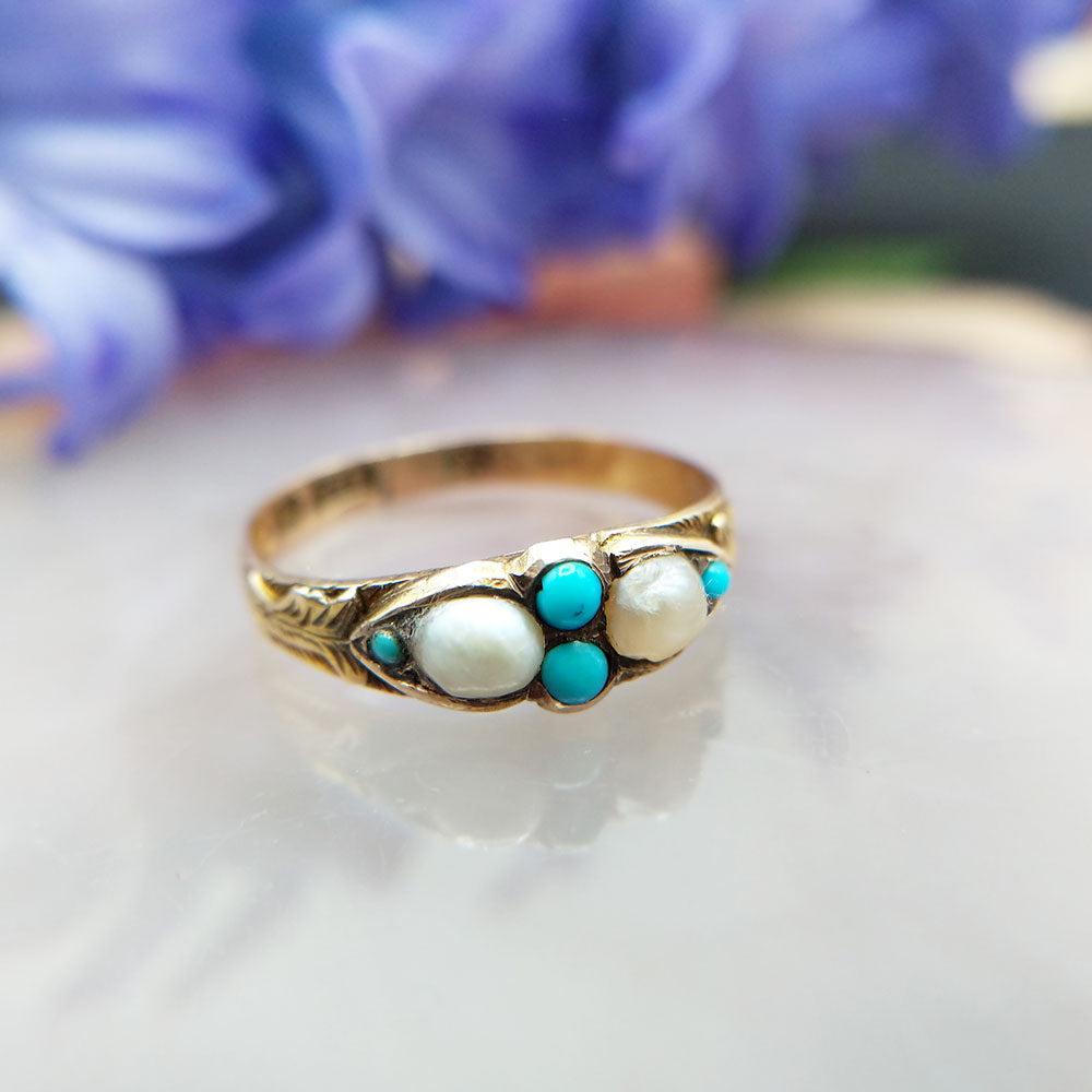 15ct gold antique ring with natural pearls