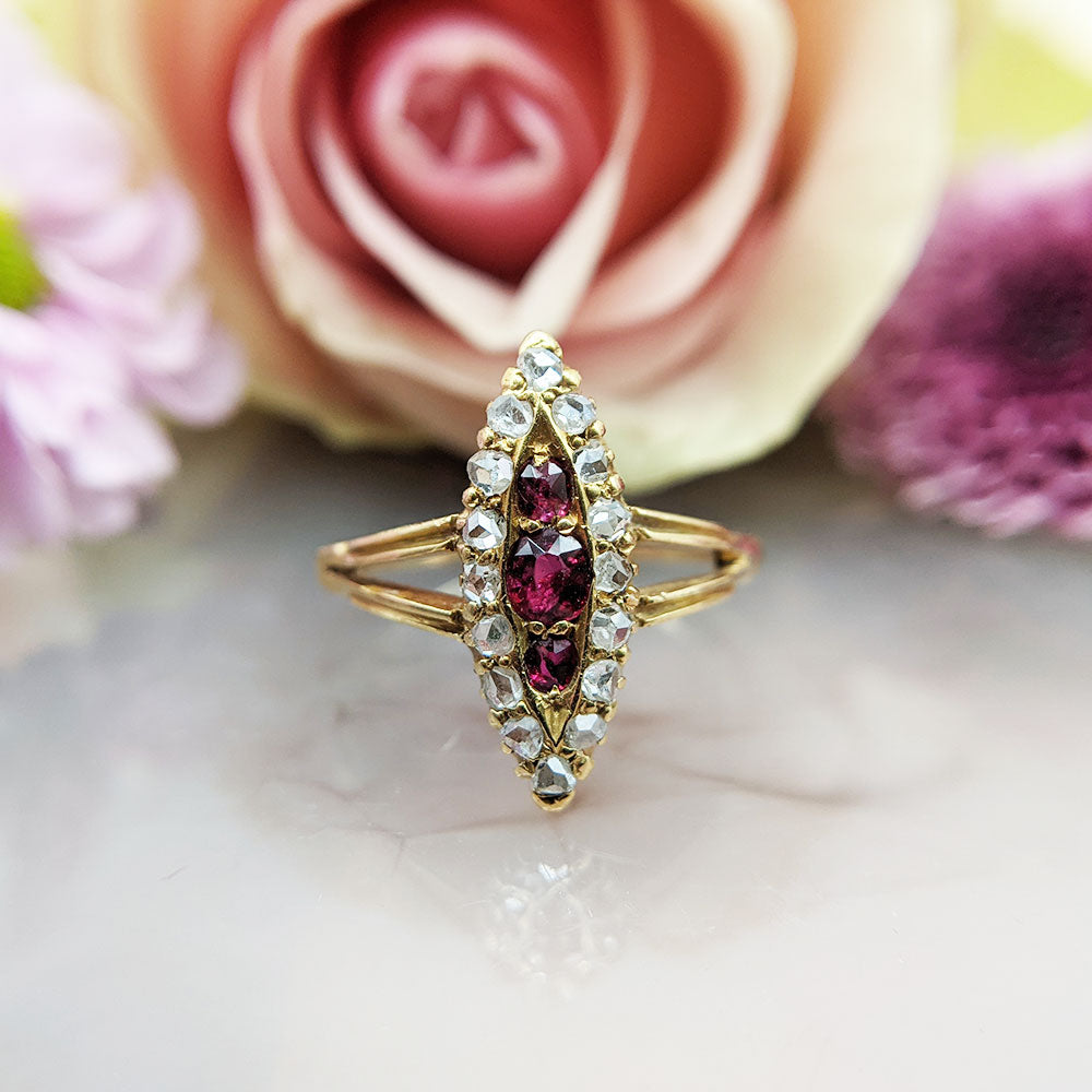 ruby and diamond navette ring