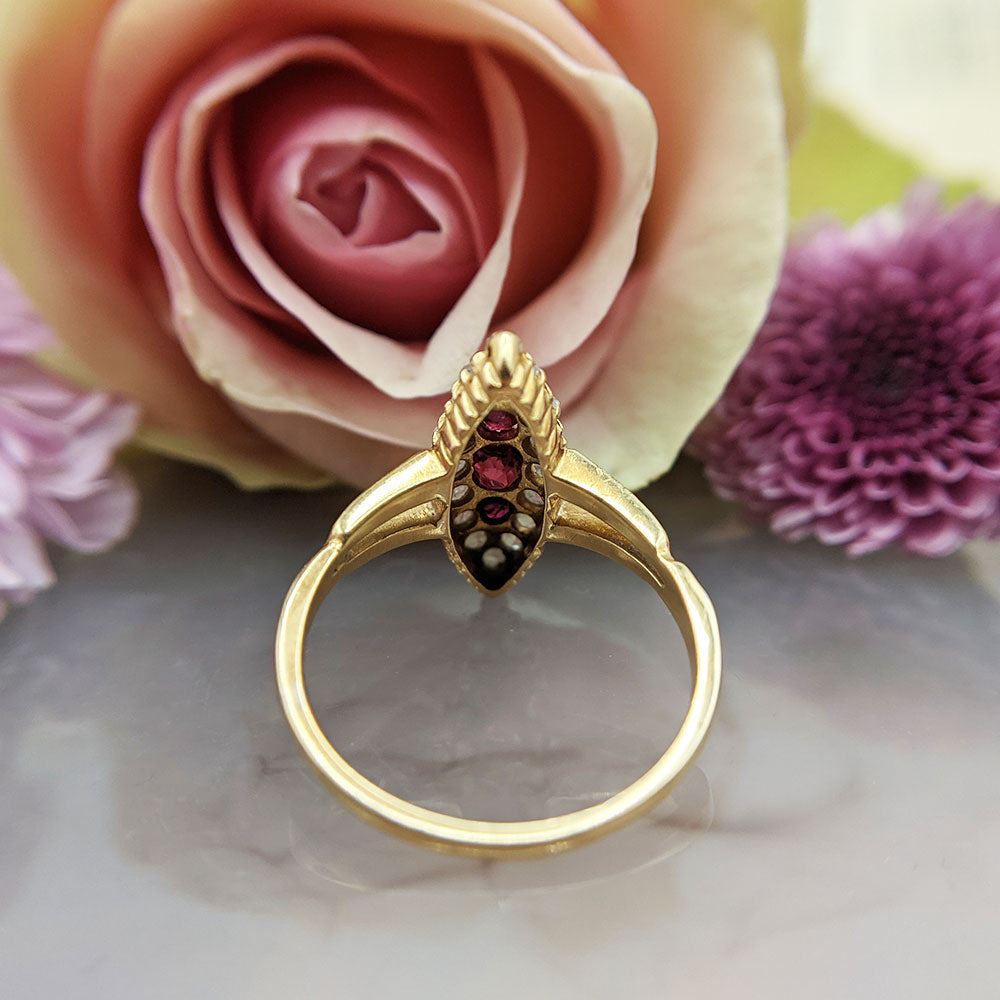 ruby marquise ring in 18ct yellow gold