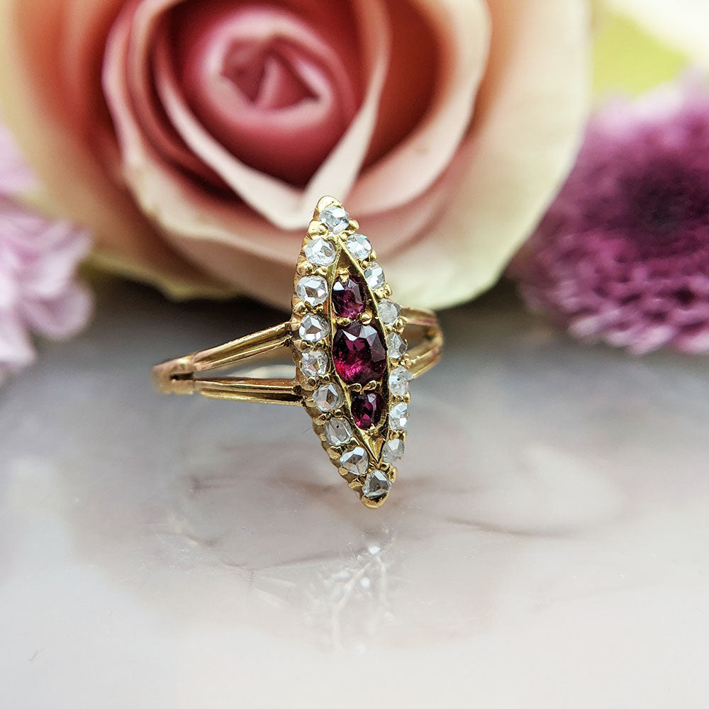 rose cut diamonds and oval rubies