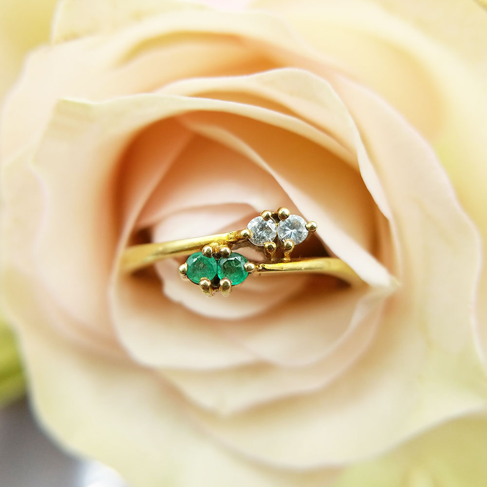 emerald and diamond stacking ring