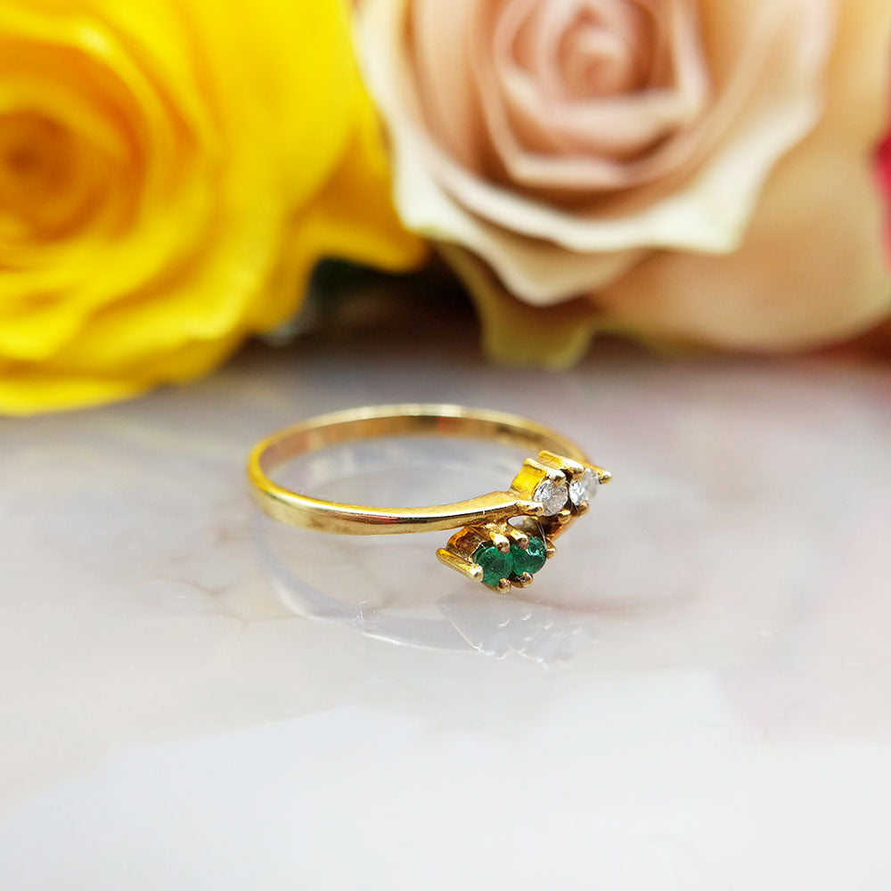 another view of the emerald and diamond ring