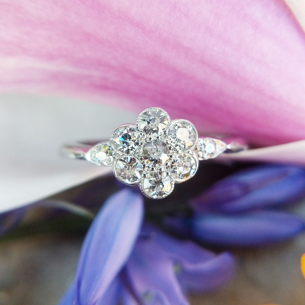 platinum and old cut diamond flower ring