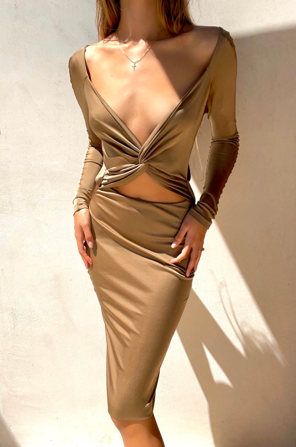 RARE S/S 2005 Gucci Cut Out Gold Tan Backless