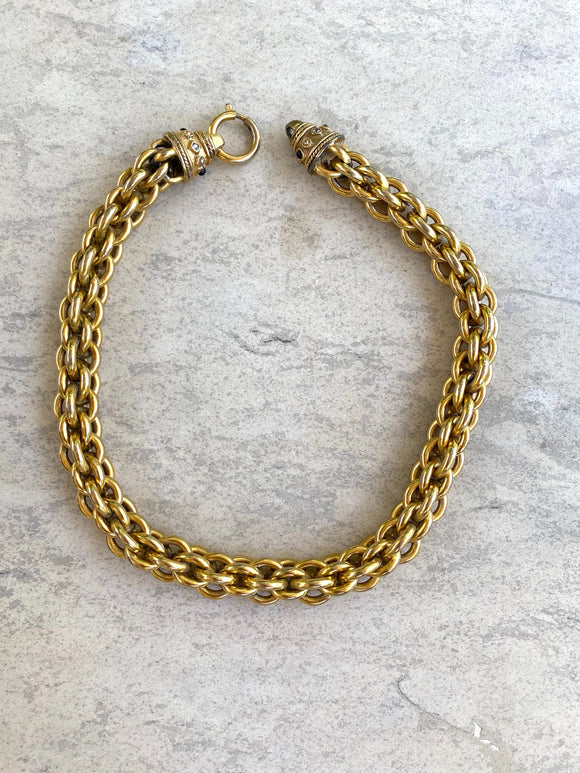 "Solid braided chain and clasp, Length: 17"" Width: 1/2""."