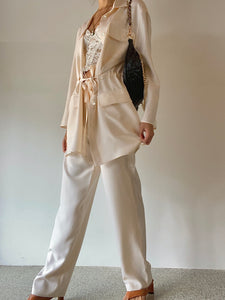 Genny 100% Silk Pant and Blazer Set