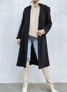 Vintage Long Black Wool Coat
