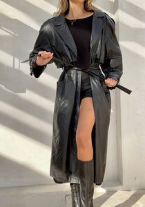 Vintage Long Leather Trench 100% leather