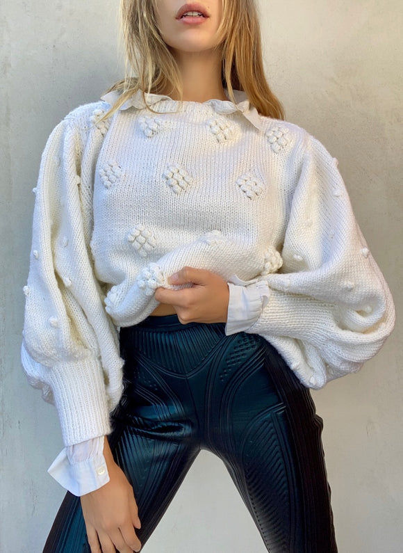 Vintage Exaggerated Sleeve texture Sweater