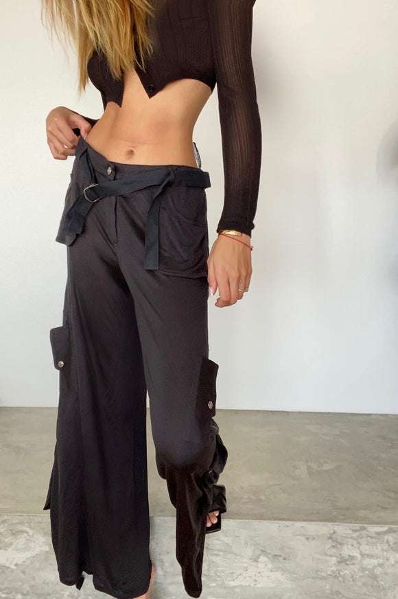 Dior Galliano Silk Cargo Pants From Spring 2003