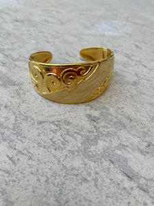 Gold Tone Engraved Cuff
