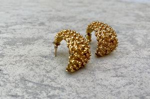 Textured Gold Tone Hoops