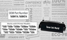 Load image into Gallery viewer, TIW Lexmark T650H04A Replacement Black Toner Cartridge for Lexmark T650, T652, T654, T656 Printers High Yield 25,000 Pages Perfect for home & commercial use.
