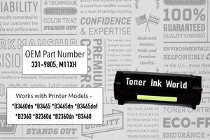 TIW B2360d Replacement Black Toner Cartridge for Dell B2360, B2360dn, B2360d, B3460, B3460N  Printers, High Yield 8,500 Page Printing, M11XH, C3NTP, 331-9806 and 331-9805 - 2 PACK