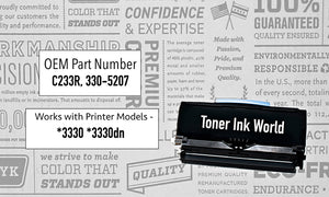 TIW Dell 3330 Replacement Black Toner Cartridge for Dell 3330, 3330dn, 330-5206 Printers High Yield 14,000 Page Printing Cartridge 330-5207, C233R, U903R, Home or Commercial Use