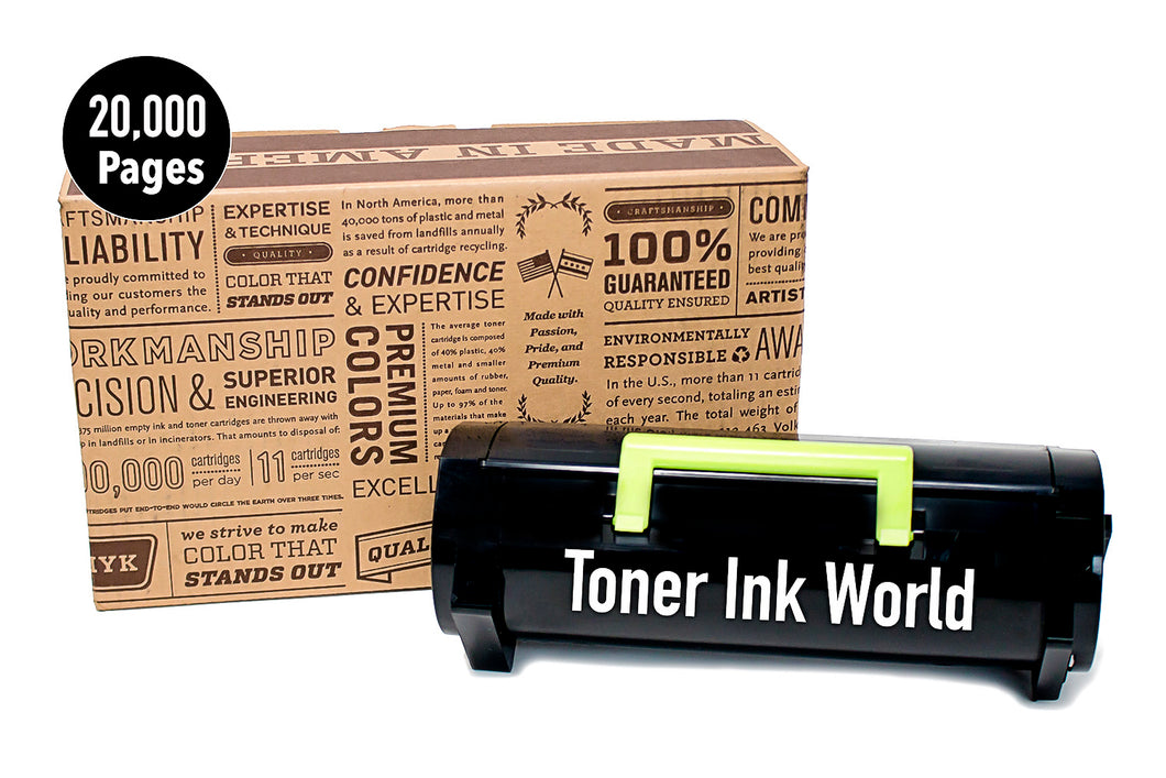 TIW Lexmark 501U Replacement Black Toner Cartridge for Lexmark MS510, MS510dn, MS610 Printers High Yield 20,000 Pages, Cartridge 50F1U00, 501U Perfect For Home and Commercial use.