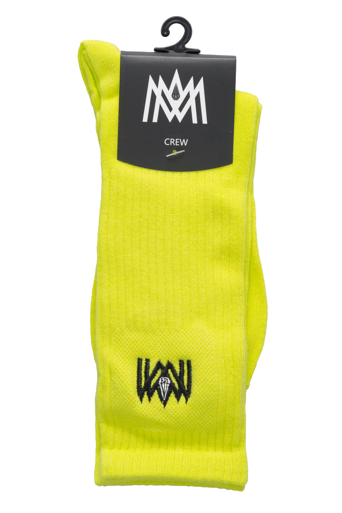 Load image into Gallery viewer, NEON YELLOW CREW SOCKS