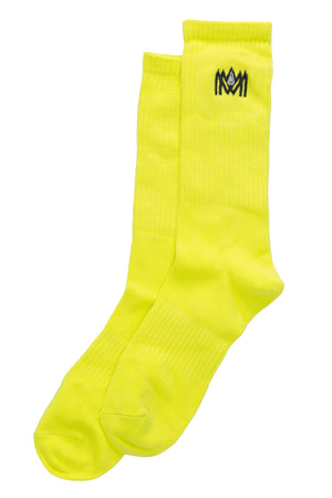 NEON YELLOW CREW SOCKS