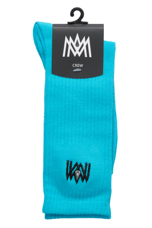 TURQUOISE/LIGHT BLUE CREW SOCKS