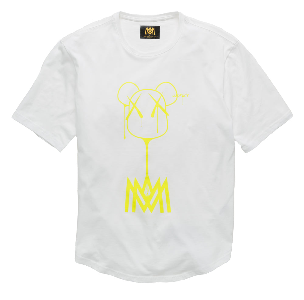 Load image into Gallery viewer, GLOW IN THE DARK T SHIRT WHITE AND NEON YELLOW