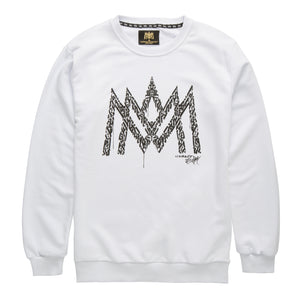 White Calligraphy Crew Neck