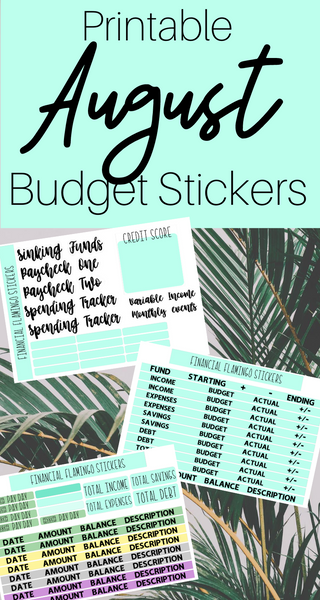 August Budget Planner Stickers {Printable}
