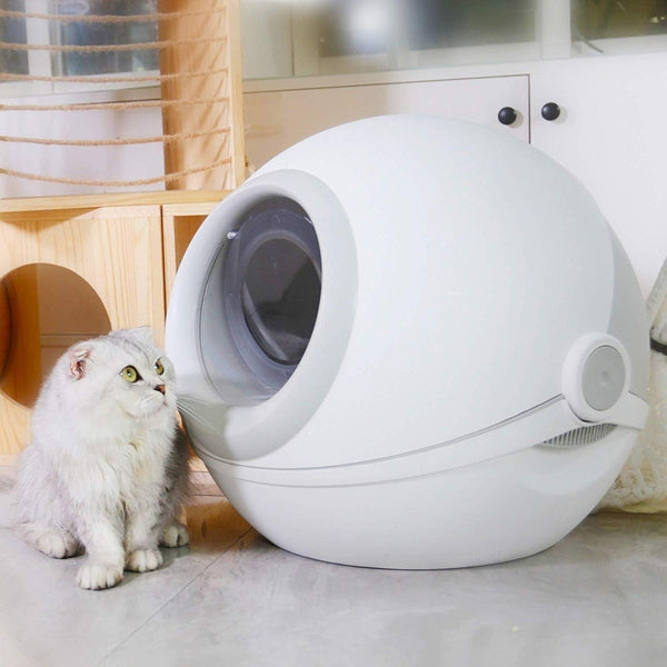Designer Cat Litter Box with Scoop -  Fully Enclosed Rounded Roll-Top Lid Spill prevention Cat Toilet Tray Box