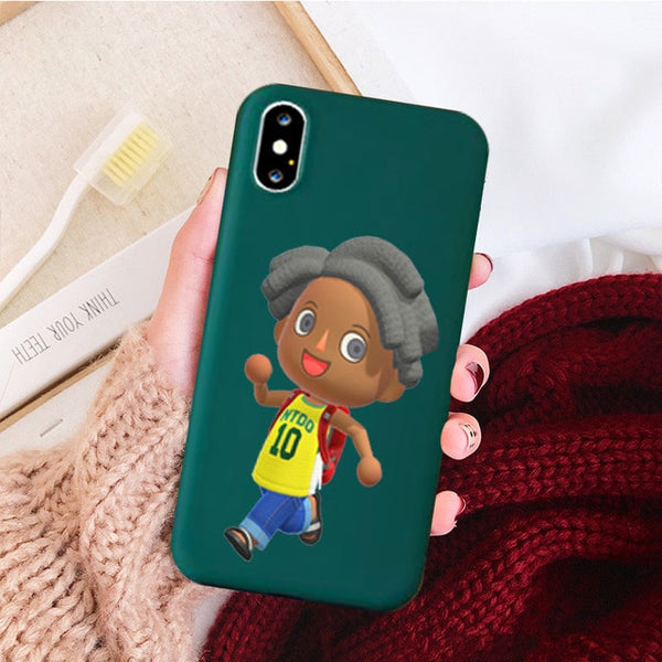 Animal Crossing Candy Color Case Phone for Iphone X 7 XS XR XSMAX 11 11Pro 11ProMax Cartoon Silcone Coque Case Cover