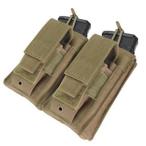 """Double Kangaroo Magazine Pouch holds (2) M4-M16 Mag, (2) Pistol Mag - Color: Tan"""