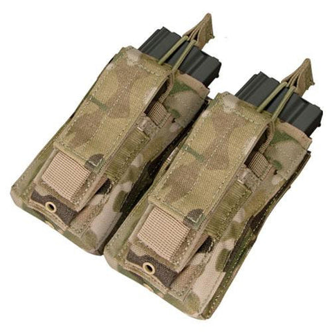 """Double Kangaroo Magazine Pouch holds (2) M4-M16 Mag, (2) Pistol Mag - Color: Multicam"""