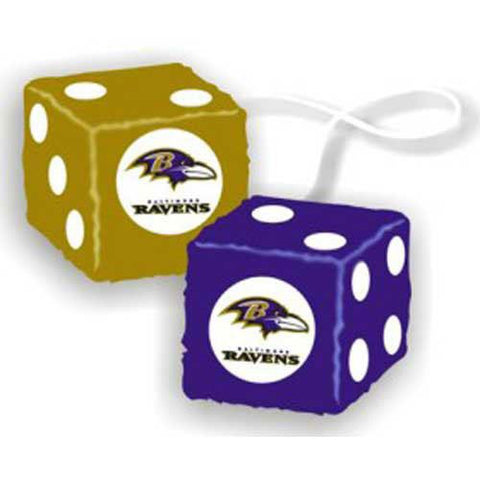 Baltimore Ravens NFL 3 Car Fuzzy Dice