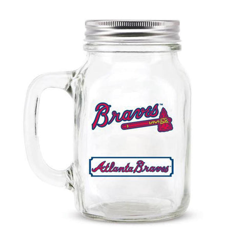Atlanta Braves MLB Mason Jar Glass With Lid