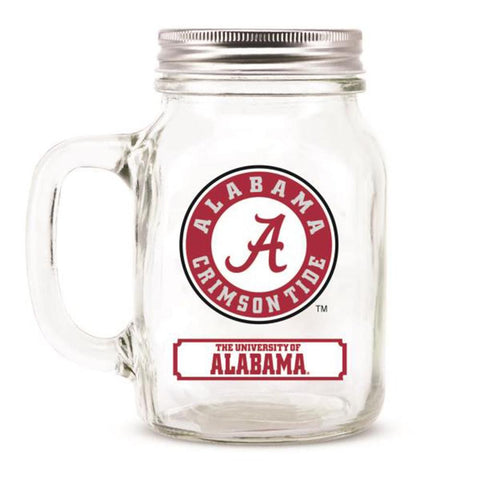 Alabama Crimson Tide NCAA Mason Jar Glass With Lid