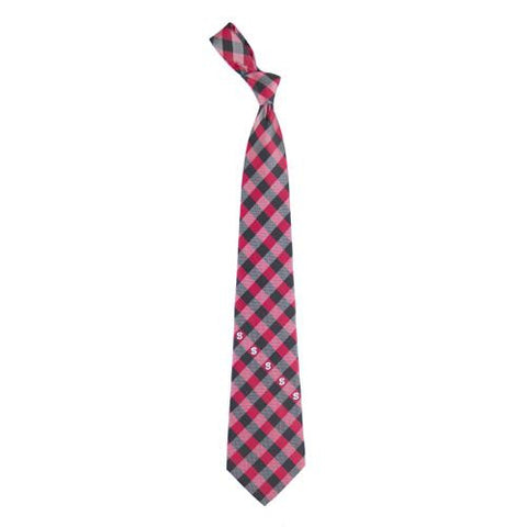 North Carolina State Wolfpack NCAA Check Poly Necktie