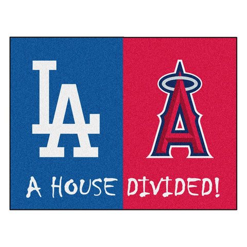 Dodgers - Angels  MLB House Divided NFL All-Star Floor Mat (34x45)