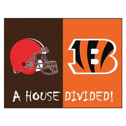 Cleveland Browns-Cincinnati Bengals NFL House Divided NFL All-Star Floor Mat (34x45)