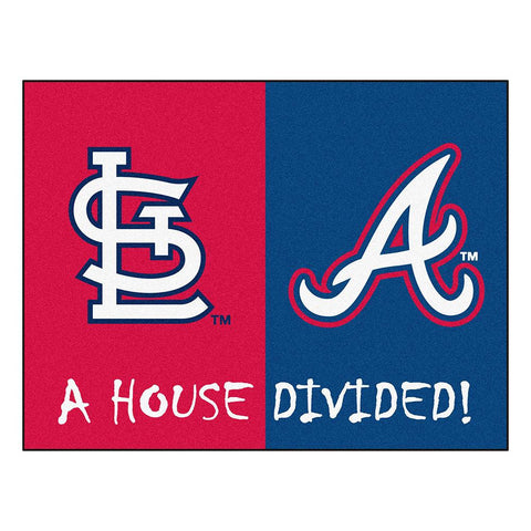 St. Louis Cardinals-Atlanta Braves MLB House Divided NFL All-Star Floor Mat (34x45)