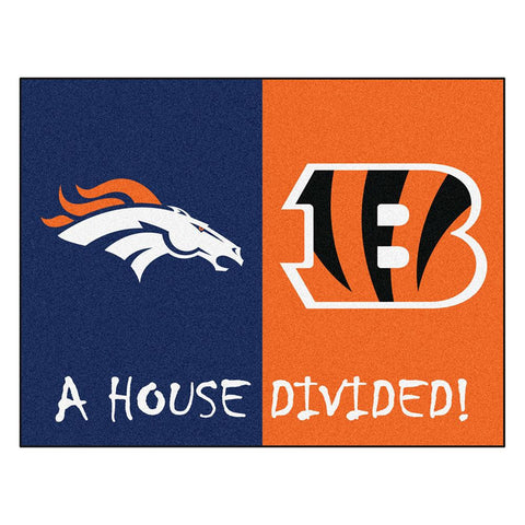 Denver Broncos-Cincinnati Bengals NFL House Divided All-Star Floor Mat (34x45)