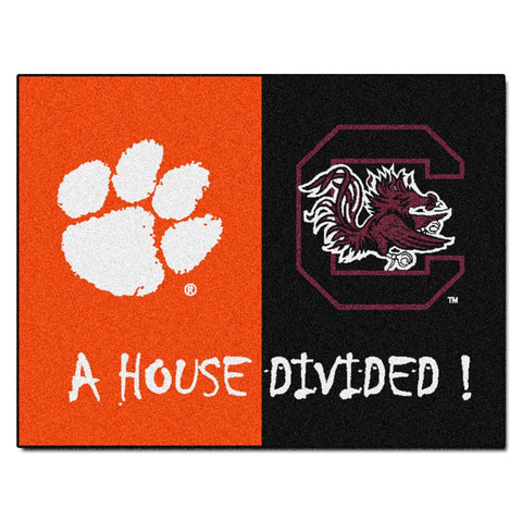 Clemson Tigers - South Carolina Fighting Gamecocks House Divided NCAA All-Star Floor Mat (34x45)
