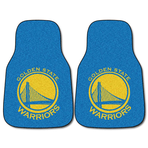 Golden State Warriors NBA 2-Piece Printed Carpet Car Mats (18x27)
