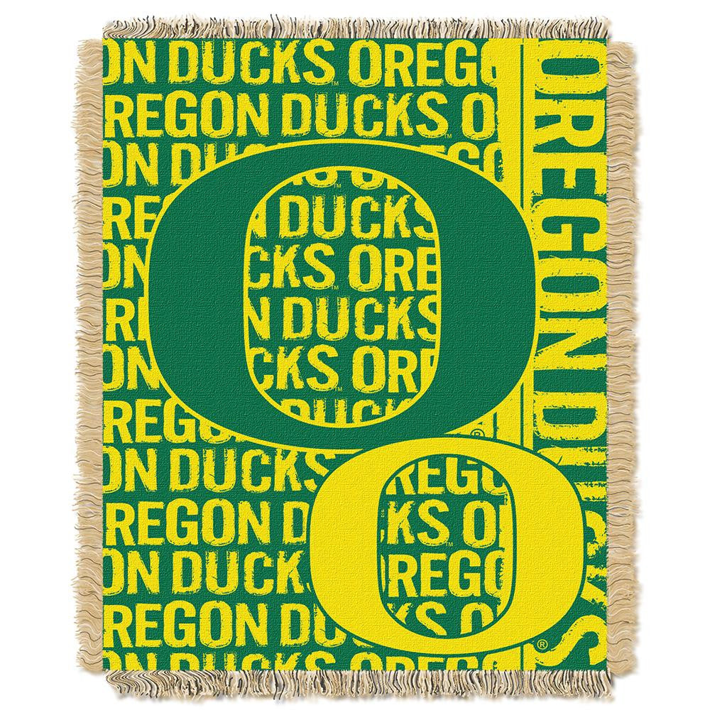 Oregon Ducks NCAA Triple Woven Jacquard Throw (Double Play Series) (48x60) - 2