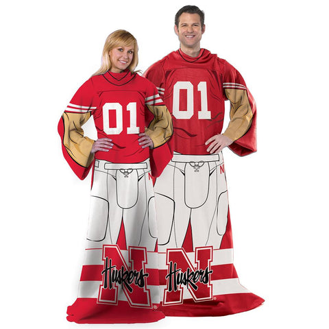 Nebraska Cornhuskers NCAA Adult Uniform Comfy Throw Blanket w- Sleeves