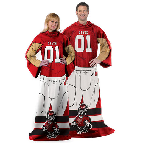 North Carolina State Wolfpack NCAA Adult Uniform Comfy Throw Blanket w- Sleeves