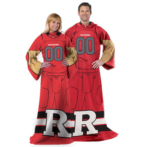 Rutgers Scarlet Knights NCAA Adult Uniform Comfy Throw Blanket w- Sleeves