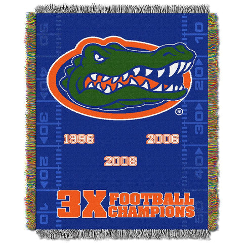 Florida Gators NCAA 3X Football National Champs Commemorative Woven Tapestry Throw (48x60)